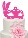 Masquerade Mask wih feathers Acrylic Cake Topper